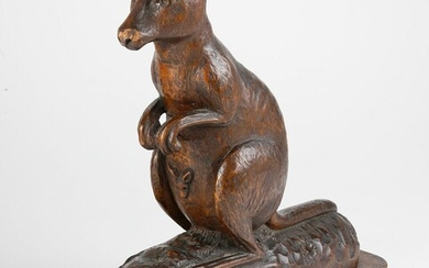 Carved Wood Wallaby Sculpture, 19th Century