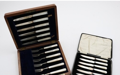 Cased Set of Silver and Mother of Pearl Fruit Knives, John S...