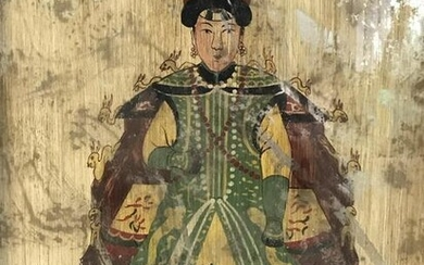 Chinese Ancestor Painting on Mirrored Surface