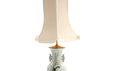 NOT SOLD. Chinese porcelain table lamp, decorated in colours and gold with ladies in a...