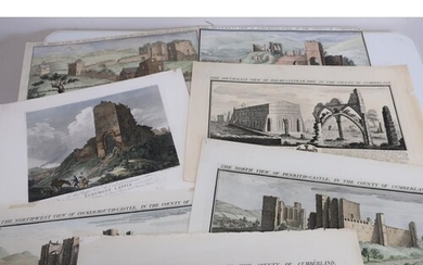 Collection of hand coloured 18th C views of North country ca...