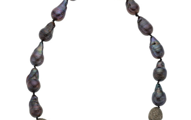 Cultured Pearl, Diamond, Silver Necklace The necklace is composed...