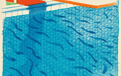 David Hockney, Pool Made with Paper and Blue Ink for Book, from Paper Pools