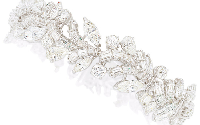 Diamond, Platinum Bracelet The bracelet features marquise-shaped diamonds weighing...
