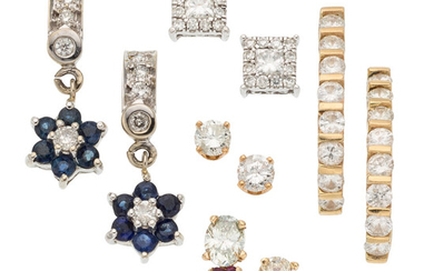 Diamond, Sapphire, Gold Earrings The lot includes five pairs...