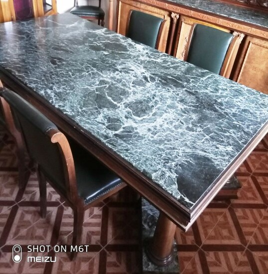 Lot Art Dining Table With Chairs Soft Wood Marble Leather