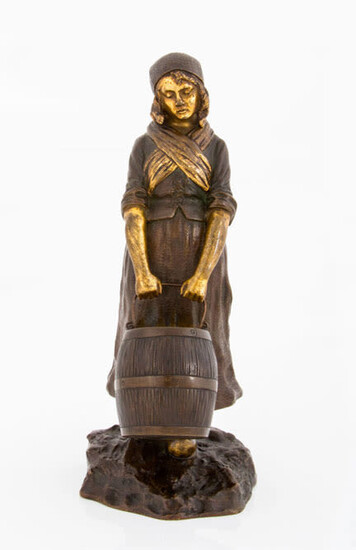 Dominique Alonzo, A Bronze and Parcel Gilt Sculpture of a Milkmaid, Early 20th Century