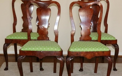 ENGLISH BURLED WALNUT SIDE CHAIRS, 18TH C, 4 PCS