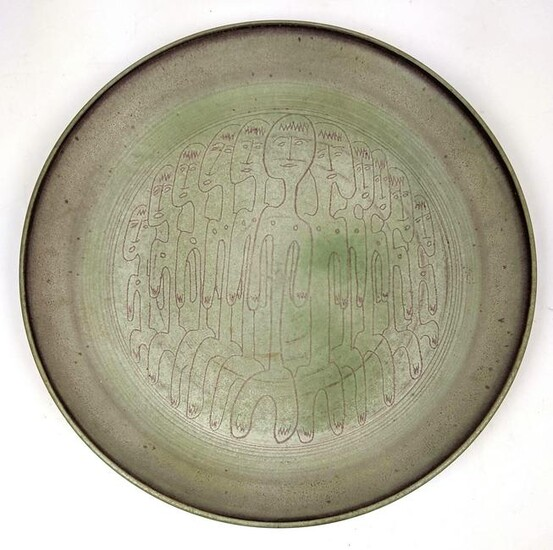 Edwin and Mary Scheier Pottery Charger with Figures. M