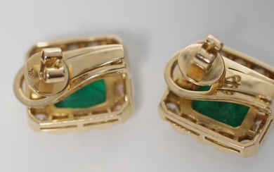 Emerald and diamond set 18ct yellow gold earrings with foldi...