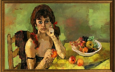 FRANCOISE ADNET OIL ON CANVAS GIRL WITH FRUIT