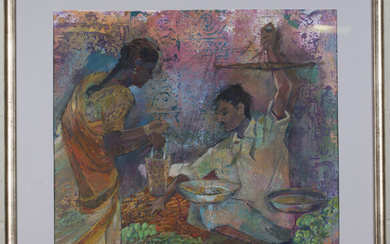 Follower of Rupal Buch - Spice Market, mixed media on paper including pastel and watercolour, 53cm x