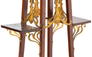 French Art Nouveau Gilt Metal and Hardwood Stand (early 20th century)