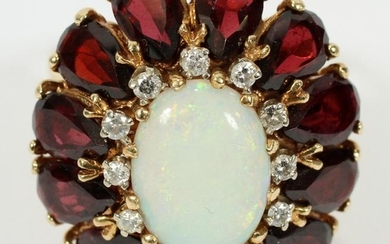 GARNET, OPAL & DIAMOND 18 KT YELLOW GOLD RING