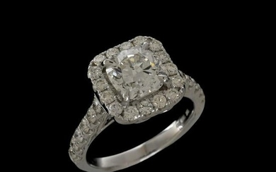 GIA Diamond and 18K Engagement Ring