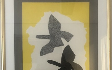 "Georges Braque: ""Maeght Editor"". Exhibition poster, 1973–1974. Lithographic print in colours. Sheet size 65×41 cm. Frame size 80×54.5 cm."