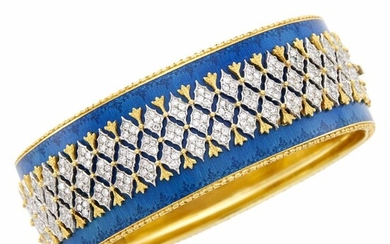 Gianmaria Buccellati Two-Color Gold, Diamond and Blue Enamel Cuff Bangle Bracelet