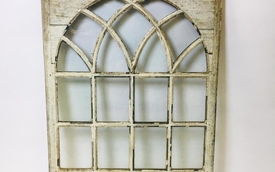 Glazed and White-painted Pine Window, 18th century, ht. 41 1/2, wd. 29 in.