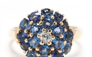 Gold, Sapphire, and Diamond Cluster Ring