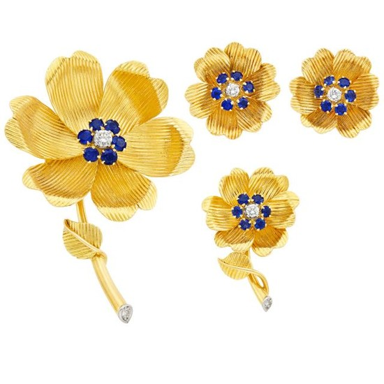 Gold, Sapphire and Diamond Flower Brooch, Pin and Pair of Earclips