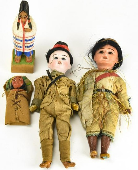Group of Four Antique Dolls in Original Clothing