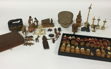 Grouping of Mostly Wood Decorative Items
