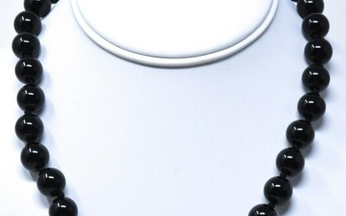 Hand Knotted Large Black Onyx 10mm Bead Necklace