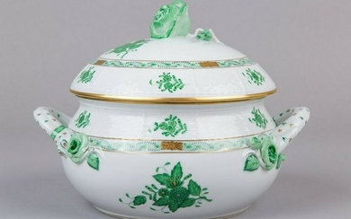 Herend Chinese Bouquet Green Soup Tureen with Lid and