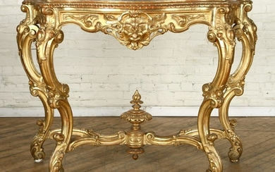 ITALIAN 19TH C GILT WOOD MARBLE TOP CONSOLE TABLE