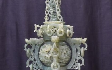 LARGE CHINESE CARVED BOWENITE TOWER CENSER
