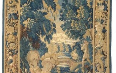 """Large Aubusson tapestry, wool and silk door representing a """"Dog trainer"""". French work. Period: circa 1680 - 1700. Size: +/-284x153cm."""