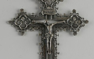 Large silver cross, 925/000, a double cross with