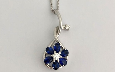Leo Pizzo - 18 kt. Gold, White gold - Necklace, Necklace with pendant - 1.24 ct Sapphire - Diamond