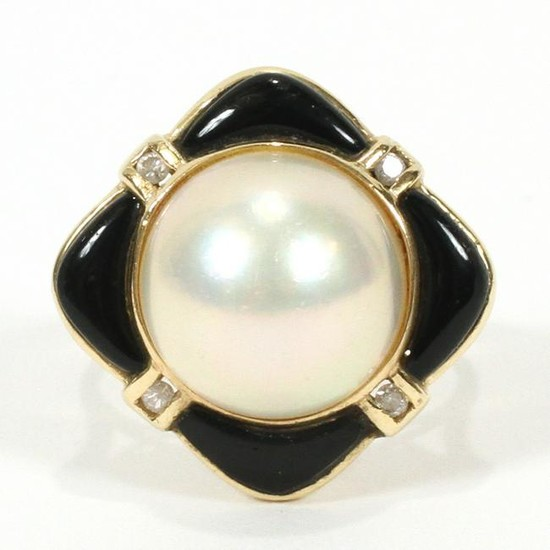 MABE PEARL, ONYX & DIAMOND, 14KT YELLOW GOLD, RING