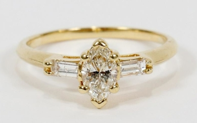 MARQUIS & SIDE DIAMONDS, GOLD, RING