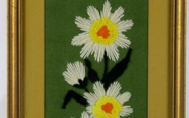 MODERN STILL LIFE NEEDLEWORK OF DAISIES
