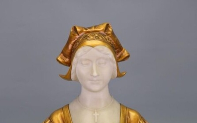 Marble bust of a young woman, bronze patina,...