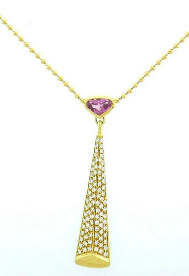 Marina B Vintage 18k Yellow Gold Diamond and Pink