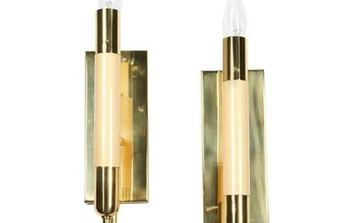 Mid-Century Italian Resin & Brass Sconces, Pair