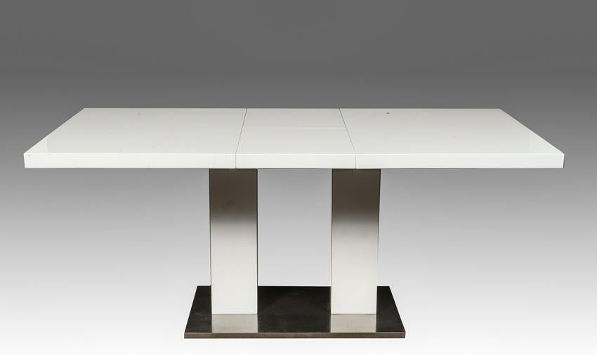 Modern White Lacquered Extendable Dining Table