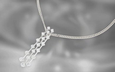 Necklace/chain/pendant: interesting vintage necklace with diamond pendant, total ca. 1,21ct, 18K white gold