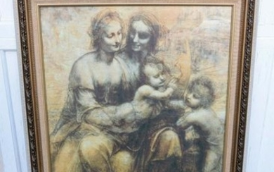 Nice Older Framed Picture of The 2 Mary's, Christ Child