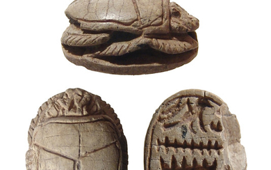 Nicely carved Egyptian steatite scarab, New Kingdom