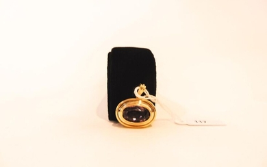 Oval pendant in 18 karat yellow gold set with an amethyst, hallmark, approx. 10g