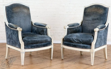PAIR FRENCH DIRECTOIRE STYLE BERGERE CHAIRS 1900