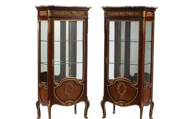 PAIR OF FRENCH ORMOLU-MOUNTED VITRINE CABINETS