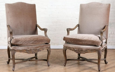 PAIR PAINTED REGENCY STYLE OPEN ARM CHAIRS 1950
