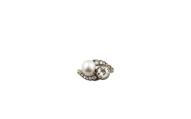 PEARL, DIAMOND, SILVER AND GOLD RING