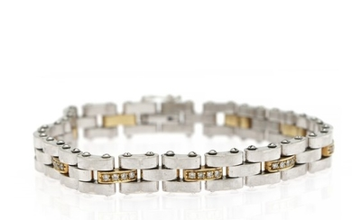 "PLAZA: A ""Dimension"" diamond bracelet set with numerous brilliant-cut diamonds, mounted in 18k gold and white gold. L. 19 cm."