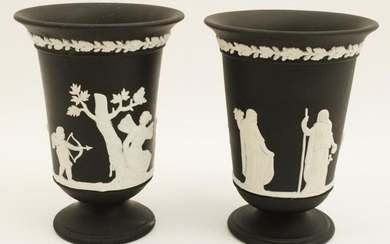 PR. OF ENGLISH WEDGEWOOD FLAIR RIMMED VASES